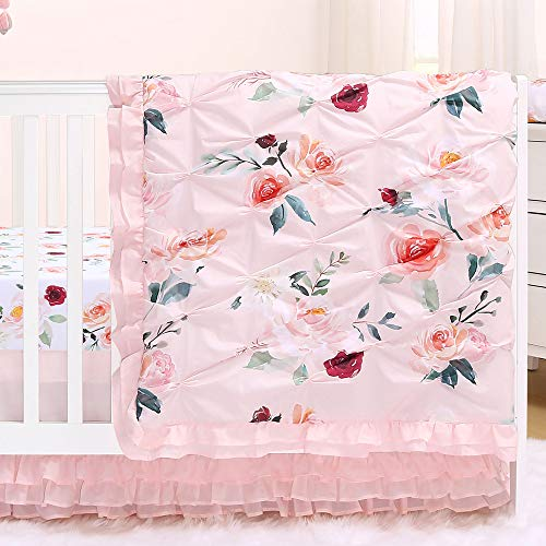 Rose Watercolor Floral Blush Pink 3-Piece Baby Girl Crib Bedding Set by The Peanut Shell