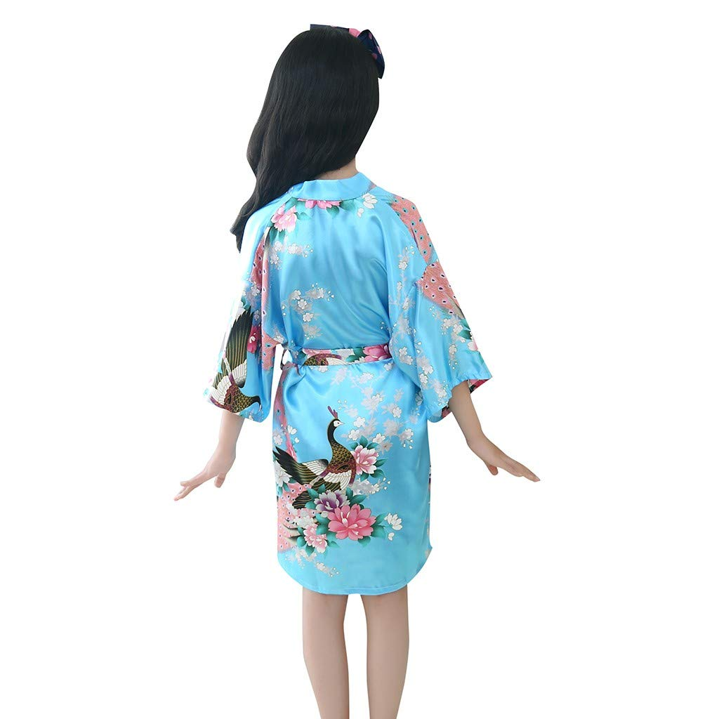 HUI.HUI Toddler B/éb/é Enfant Filles Floral Soie Satin Kimono Robes Peignoir V/êtements De Cou