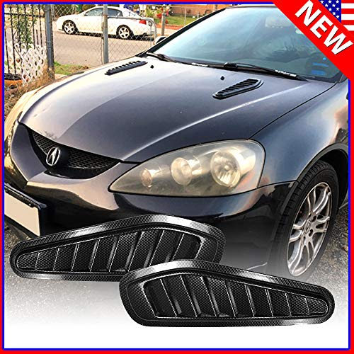 - native gear Universal Carbon Fiber Fake Decorative Hood Turbo Intake Scoop Grille Air Flow Vent