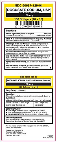 Docusate Sodium 100mg Softgels, Stool Softener Laxative, 100 Count Per Pack (5 Packs)