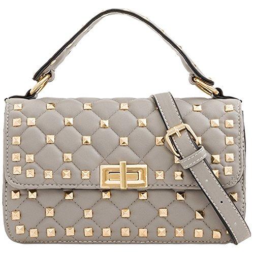 KT2175 Handbag Bag Messenger Body Grey Studded Cross Purse Clutch Quilted Women's Ladies qXSwzTAvXn