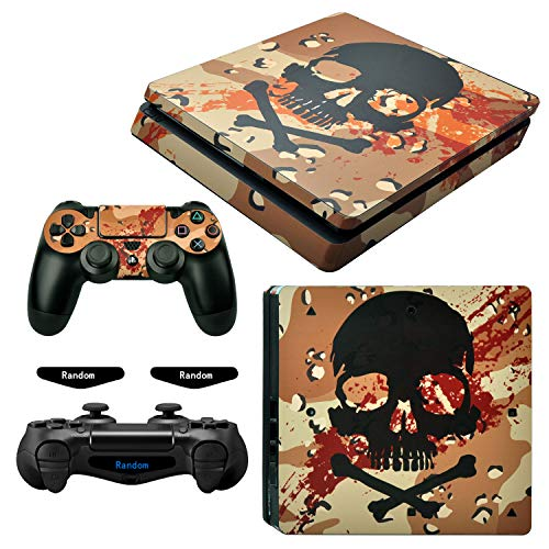 eXtremeRate Full Set Faceplate Skin Decal Stickers for Playstaiton4 Slim/PS4 Slim with 2 Led Lightbar (Console & 2 Controller) -Bloody Skull