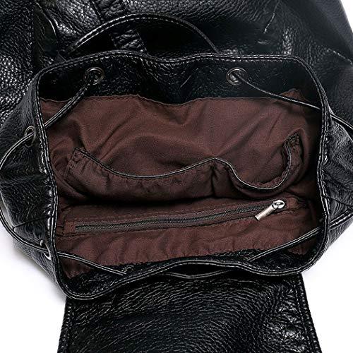 Fekete Pequeña Piel Cuero Pu Bandolera Hombro Mochila V1 Casual Bolsos De V2 Mujer Deerword qtw4PH6