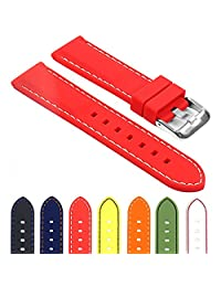 StrapsCo Rubber Divers Sport Replacement Watch Band in Red w/ White Stitching 22mm