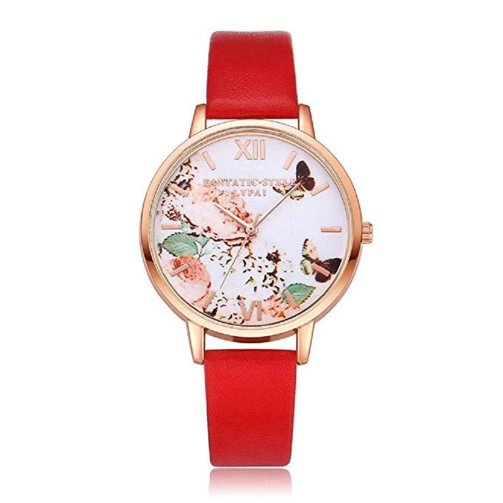 Scpink Mujeres Relojes de Cuarzo, Impresión Mariposa patrón de liquidación analógica Moda Relojes Mujer de Negocios Relojes Cuero Reloj de Pulsera Dial ...