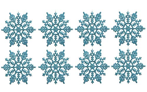 Plastic Snowflake Ornaments, tiny 24pcs Sparkling turquoise Iridescent Glitter Snowflake Ornaments on String Hanger for Decorating, Crafting and Embellishing (3inch, turquoise) ()