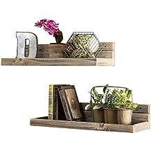 del Hutson Designs - Reclaimed Floating Shelves (Set of 2), USA Handmade, Barnwood (6H x 24W x 7D, Barnwood)
