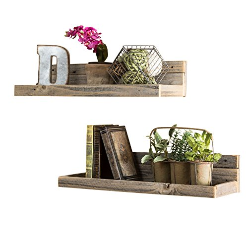 del Hutson Designs - Reclaimed Floating Shelves (Set of 2), USA Handmade, Barnwood (6H x 24W x 7D, Barnwood)