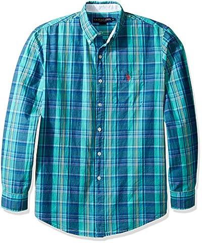 U.S. Polo Assn. Men's Stripe, Plaid Or Print Long Sleeve Single Pocket Sport Shirt, 9746-Malibu Blue, XL