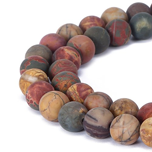 BRCbeads Picasso Jasper Natural Gemstone Loose Beads 8mm Matte Round Crystal Energy Stone Healing Power for Jewelry Making Picasso Jasper Natural Stone