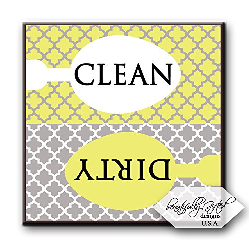 Dishwasher Magnet Clean Dirty Sign - Cute Quatrefoil Classy Moroccan Trellis Design - Home or Office Organization Tool - Yellow White Grey - 2.5 x 2.5 - Gag Gift Idea or Christmas Stocking Stuffers