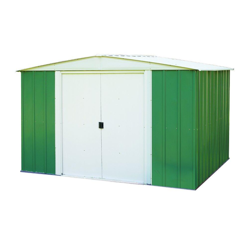 Chalet-Jardin rmg10862 abrigo de jardín acero galvanizado verde/Beige 313 x 242 x 185 cm): Amazon.es: Jardín