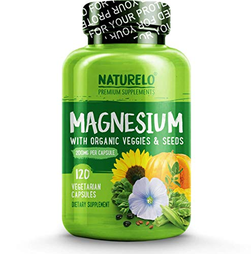 NATURELO Magnesium - 200 mg Natural Glycinate Chelate - Best Organic Supplement for Sleep, Calm, Anxiety, Muscle Cramp & Stress Relief - High Absorption - Gluten Free, Non GMO, No Soy - 120 Capsules