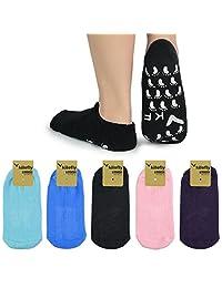 kilofly Non-Skid Soft Cotton Gripper Socks Value Pack, Set of 5 Pairs