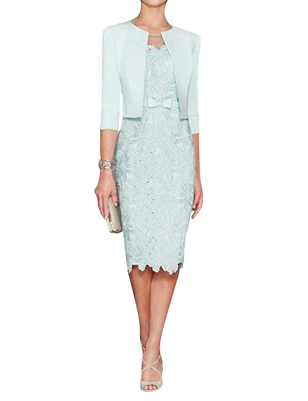 Sky bluee H.S.D Mother of The Bride Dress Sheath Mother Dress Lace Formal Dresses Satin Jacket