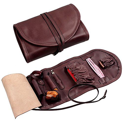 Handmade Genuine Leather Pipe Tobacco Pouch Bag Organize Case Pipe Tool Lighter Holder Pocket for 2 Pipe Vintage Unisex (Dark Brown)