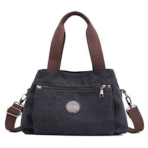 Hiigoo Women's Casual Totes Bag Shoulder Bag Canvas Handbags 3-open Crossbody Bag Messenger Bag (Black) (Ladies Handbags Xoxo)