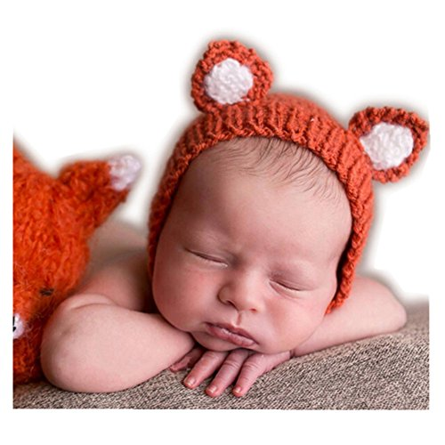 [Luxury Cute Newborn Boy Girl Baby Costume Outfits Photography Props Little Fox Hat (Orange)] (Fox Hat Costume)