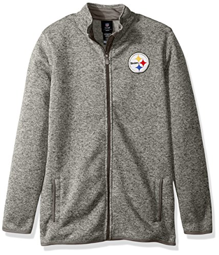 Outerstuff NFL Youth Boys Lima Full Zip Fleece Jacket-Cool Grey-M(10-12), Pittsburgh Steelers