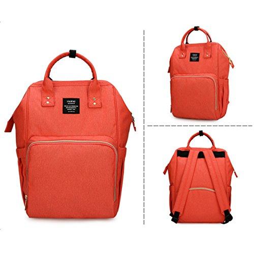 poliking mochila para pañales para cuidado del bebé, multifuncional para bebé pañal bolso cambiador con bolsillos, tela impermeable, gran capacidad rosa rosa naranja