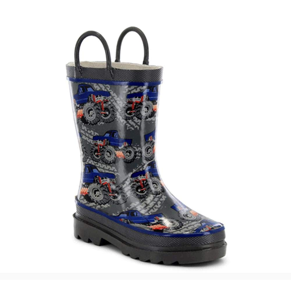 Western Chief Kids Baby Girl's Limited Edition Printed Rain Boots (Toddler/Little Kid) Monster Truck Charcoal 1 M US Little Kid