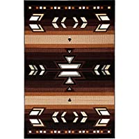 "Champion Rugs Southwest Southwestern Native American Indian Modern Area Rug Carpet Black (5' 3"" X 7' 5"")"