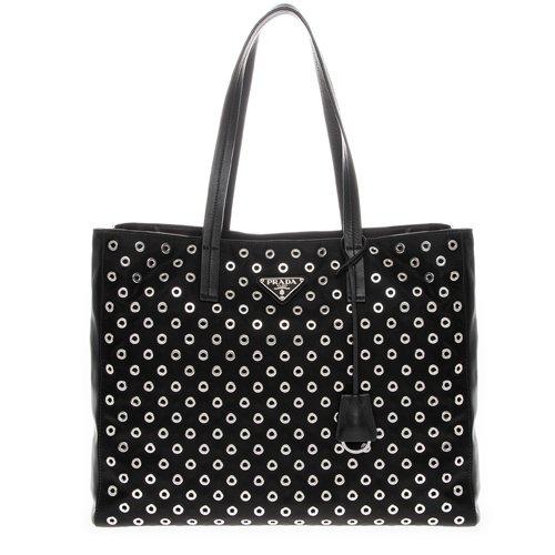 (Prada Women's Tessuto Nylon and Leather Grommet Tote Black)