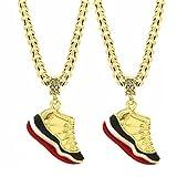 L & L Nation Mens Gold Plated Hip Hop Retro 11 Shoes Pendant 6mm 24'' Cuban Chain Set of 2 (Bred Kicks + Bred Kicks)
