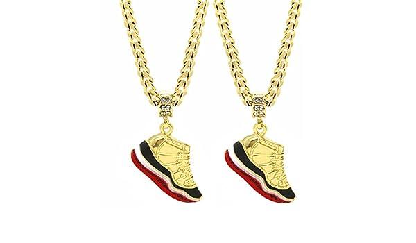 Columbia + Championship L /& L Nation Mens Gold Plated Hip Hop Retro 11 Shoes Pendant 6mm 24 Cuban Chain Set of 2