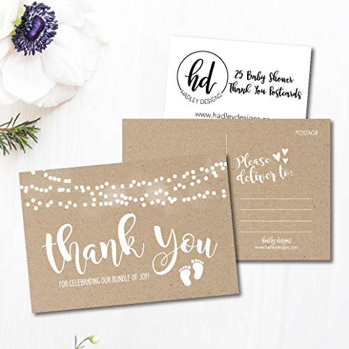 25 Girl or Boy Rustic Baby Shower Thank You Note Card Bulk Set, Blank Cute Kraft Gender Reveal Neutral Sprinkle Postcards, No Envelope Needed For Party Gift Personalize Printable Cardstock Paper Photo #3