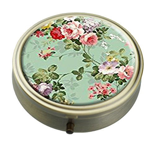 Gold Round Pill Box - Vintage Floral Flowers Fashion Custom Personalized Bronze Round Pill box Wallet Travel Kit Vitamin Decorative Box Protection Box