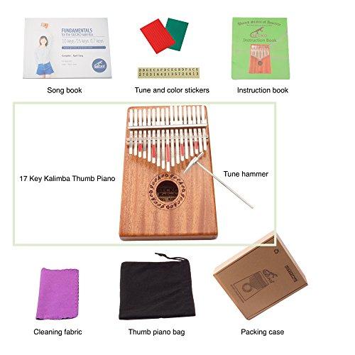 Gecko Kalimba 17 Key with Mahogany,Portable Thumb Piano Mbira/Marimba Sanza of Wooden Attached Ore Metal Tines - Image 5