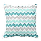 Generic Custom Square Teal Gray Chevron Decorative Pillow Cover Cotton Pillowcase Cushion Cover 20 X 20