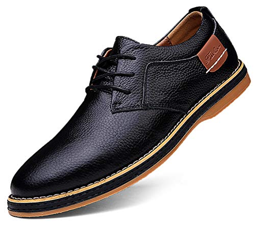 TSIODFO Men's Dress Shoes Black Brown Genuine Cow Leather Oxfords Business Casual Shoes (6811-1-Black-41)