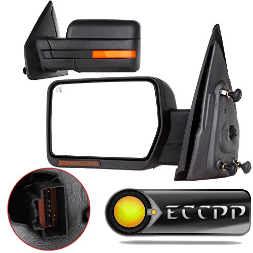 Eccp Side Mirrors Rear View Mirror Mar Mirror Tow Mirrors Replacement Fit For 2007 2008 2009 2010 2011 2012 2013 2014 Ford F 150 With Puddle Light Power Heated Led Signal Towing Side View Mirrors Pair