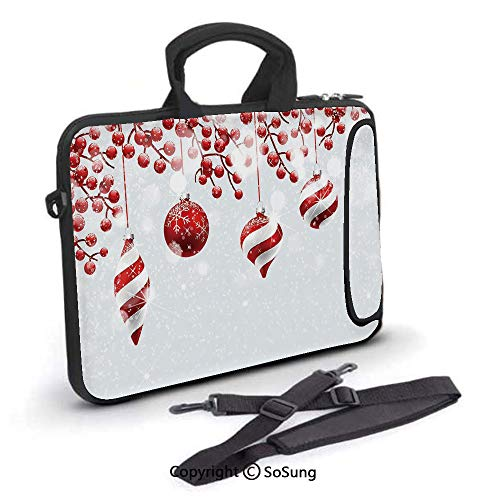 15 inch Laptop Case,Traditional Decoration Icons Holly Berry Branches with Snow and Bokeh Effect Print Decorative Neoprene Laptop Shoulder Bag Sleeve Case with Handle and Carrying & External Side - Inch 15.4 Berry