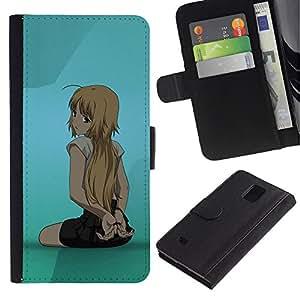 All Phone Most Case / Oferta Especial Cáscara Funda de cuero Monedero Cubierta de proteccion Caso / Wallet Case for Samsung Galaxy Note 4 IV // Cute Anime Girl
