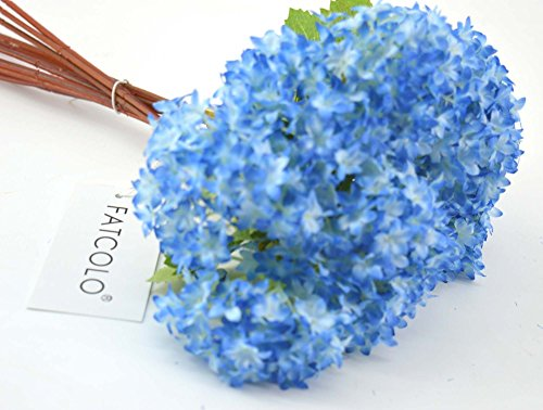 12 pcs/lot Lovely Mini Hydrangea Artificial Fake plastic Mini Fresh Silk Flower Arrangement Home Home Decorative Flowers Bouquet Dining-table Hotel party Wedding DIY Craft fake flores marriage decoration (Blue Fake Flowers)