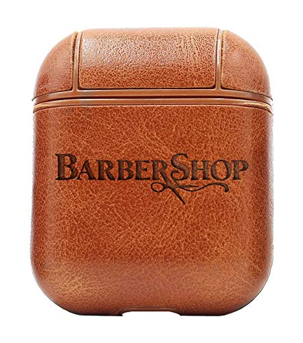 Logo Barber Shop (Vintage Brown) Air Pods Protective Leather Case Cover - a New Class of Luxury to Your AirPods - Premium PU Leather and Handmade exquisitely by Master Craftsmen (Best Barber Shop Logos)