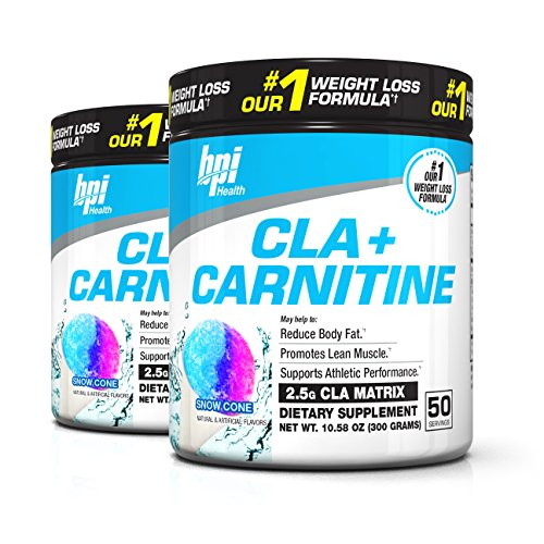 BPI Sports Cla + Carnitine Non-Stimulant Weight Loss Supplement Powder, 300 Gram, 50 Servings (2 Pack) (Snow Cone)