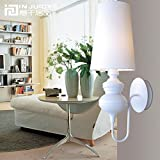 Injuicy Lighting Modern European Metal Cloth Fabric E27 Led Wall Sconces Lights Fixtures Guard Spain Trophy Wall Lamps for Dining Living Rooms Bedside Bedrooms Corridor Aisle Villa Decoration (White)