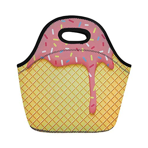 """Ice Cream Decor Durable Lunch Bag,Waffle Pattern with Cherry Flavor on Yummy Summer Dessert Cute Image Decorative for School Office,11.0""""L x 5.1""""W x 9.8""""H"""