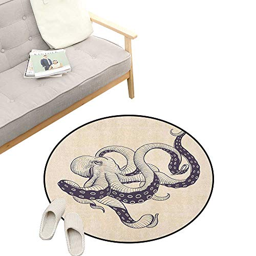 Octopus Non-Slip Round Rug ,Hand Drawn Style Animal Illustration with Grunge Effect and Antique Style, Washable Living Room Bedroom Kids 39