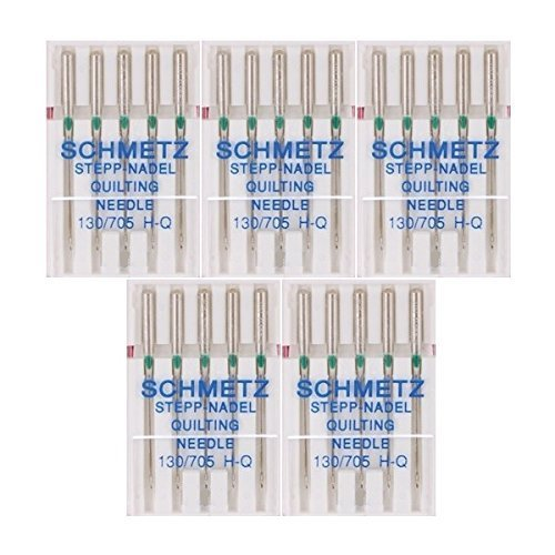 Schmetz Quilting Sewing Machine Needles 130/705H H-Q Size 90/14, (pack of 5)