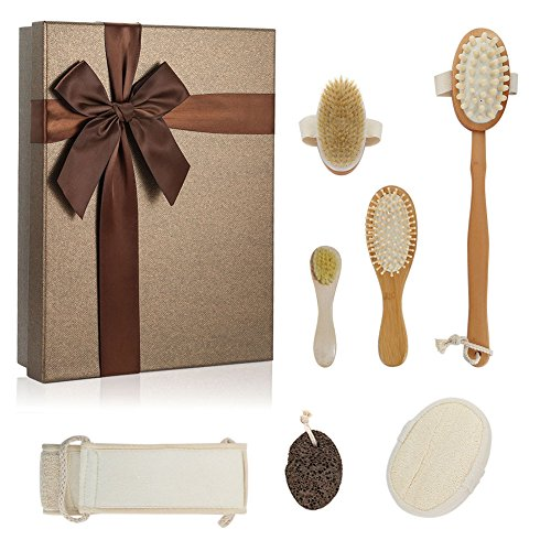 Bath Accessories Soft Complexion Brush - Hotab Bath Detachable Head Wooden Massager Brush and Body Brush, Facial Complexion Brush, Hair Brush, Exfoliating Back Scrubber, Loofah Body Sponge, Pumice Stone Spa Gift Set in Gift Box