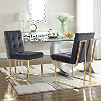 Iconic Home FDC2701-AN Liam Contemporary Brass Metal Frame Modern Tufted Velvet Polished Dining Side Chair, Grey (Set Of 2)