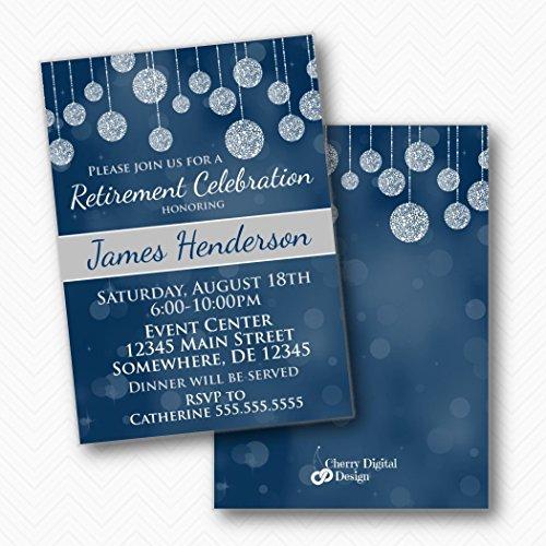 Party Invitation Retirement - Blue Gray white Retirement Party Printed Invitations | Envelopes Included