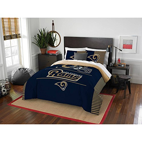 3 Piece NFL Rams Comforter Full Queen Set, Blue Gold Football Themed Bedding Sports Patterned, Team Logo Fan Merchandise Athletic Team Spirit Fan, Polyester, For Unisex by un