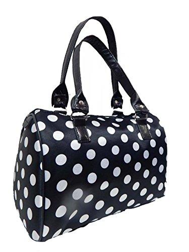 "Us Handmade Fashion Doctor Bag ""polka Dots"" Pattern Satchel Styles Purse Black Color Drb 8503"