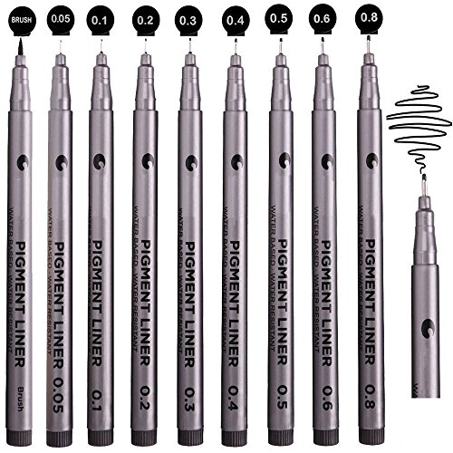 Black Micro-Pen Fineliner Pens, Beupro Black Pigment Liner Precision Micro Liner Drawing Pens for Sketching Drawing Drafting Office Documents Comic Manga Scrapbooking and School Using by Beupro